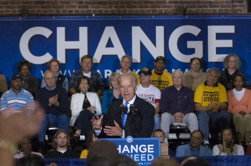 Joe Biden, D-DE., during an Obama and Biden rally at the Danville Community Market in downtown Danville Virginia on October 24, 2008.