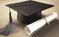 Graduation certificate and mortar board, computer artwork.